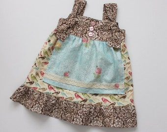 SALE 18-24m, 2T and 3T Shabby Chic Apron Knot Dress - Ready to Ship Sizes