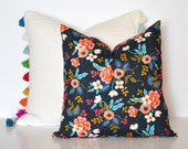 RIFLE FLORAL PILLOW // Navy Floral Pillow Cover, Floral Pillow, Navy and Pink Pillow, Kids Pillow, Throw Pillow, Pillow Cover