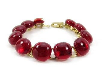 Classic Bright Red Glass Bracelet, Gold
