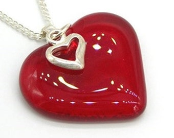 Red Candy Apple Glass Heart Pendant Handmade Fused glass, Silver