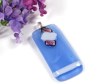 Large Blue, White and Pink Glass Pendant, silver