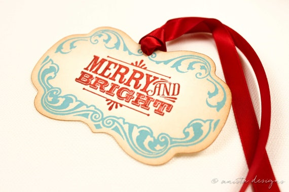 Christmas Tags Retro Merry and Bright Set of 5