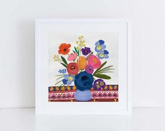Boho Maximal Florals, Art, Illustration, Print