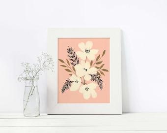 Peach Play Florals, Art, Illustration, Print