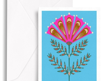 Folksy Florals Set of Six Greeting Cards, Any Occasion, Blank Inside