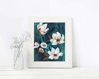 Midnight Magic Florals, Art, Illustration, Print