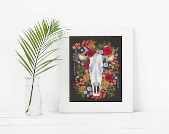 Ox Skull in Florals, Art, Illustration, Print