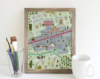 Boulder, Colorado Map, Art, Illustration, Print