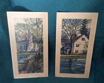 Vintage 1960s Hometown Lithographs on Cardboard 13 X 6 7/8. I Love These Prints. I Want To Climb into These Prints And Live in Simpler Times