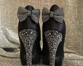 bd0e1301d4 Women Shoes Pumps Black Satin High Heel Platform Rhinestones size 8 1/2
