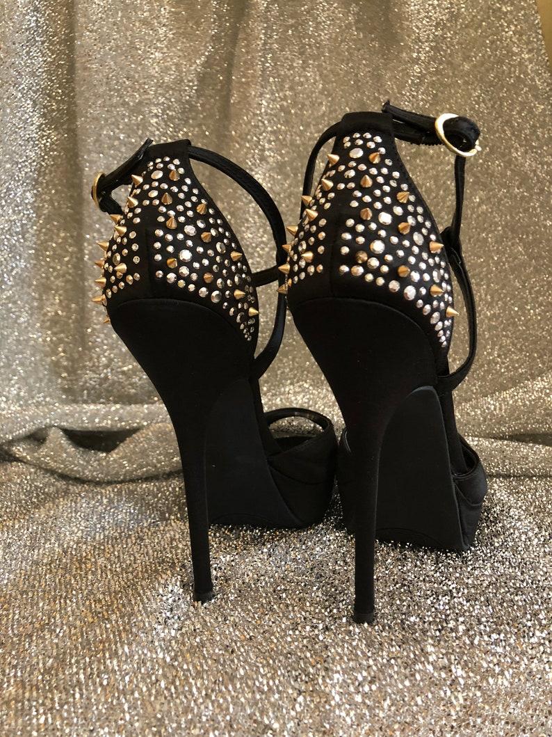 7232a7020e Women Shoes Pumps Black Satin High Hill Platform size 9 1/2 | Etsy