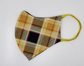 Yellow Plaid Fabric Face Mask, washable and cotton