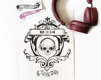 "illustration print ""Until the bone""- gift for musician- digital art print- home decoration print-"
