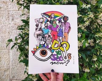 "illustration print ""Do you see us now?""- digital art print- home decoration print"