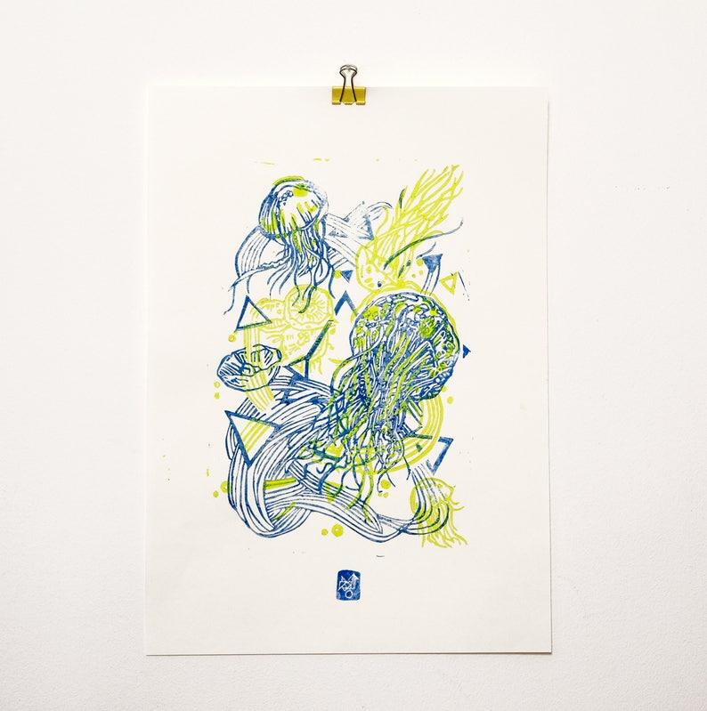 JellyFluo  LINOCUT PRINT yellow fluo/ blue image 0