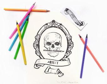 "illustration print ""Until the bone""- gift for artist- digital art print- home decoration print-"
