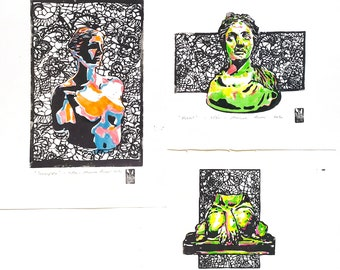 LINOCUT PRINT statue serie