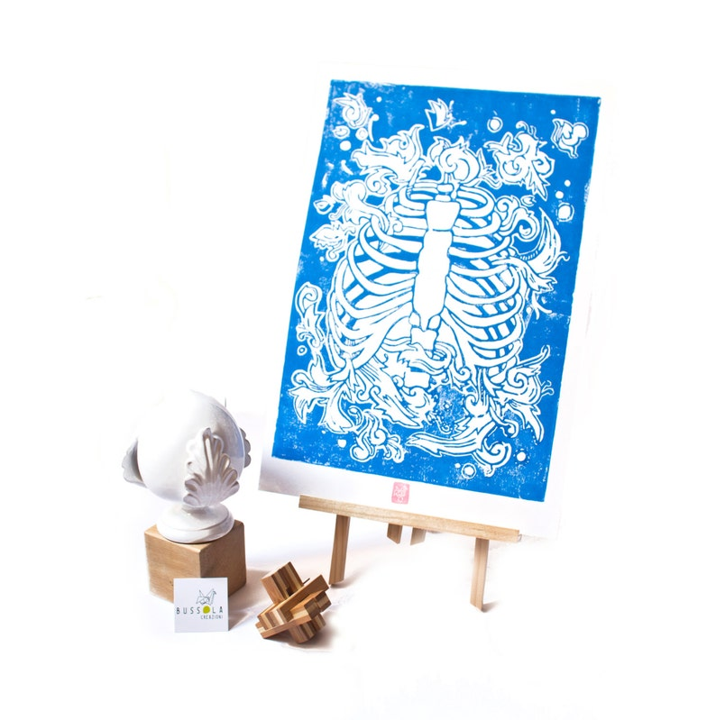 LINOCUT PRINT anatomical rib cage  blue image 0