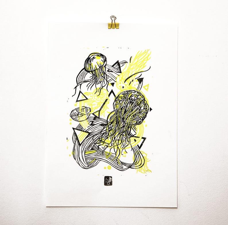 JellyFluo  LINOCUT PRINT yellow fluo/ black image 0