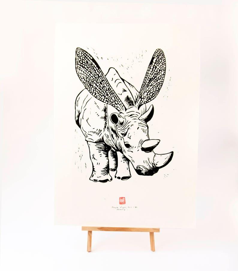 LINOCUT PRINT Rhinofly image 0
