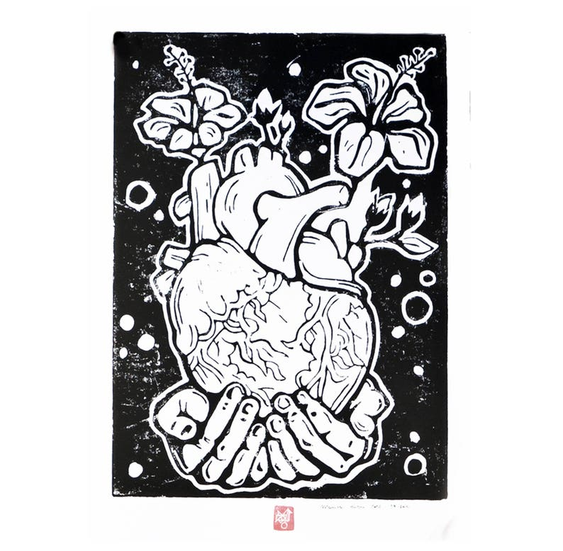 LINOCUT PRINT anatomical HEART image 0