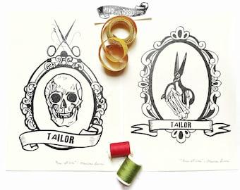 "illustration print ""Until the bone""- gift for tailor- digital art print- home decoration print-"