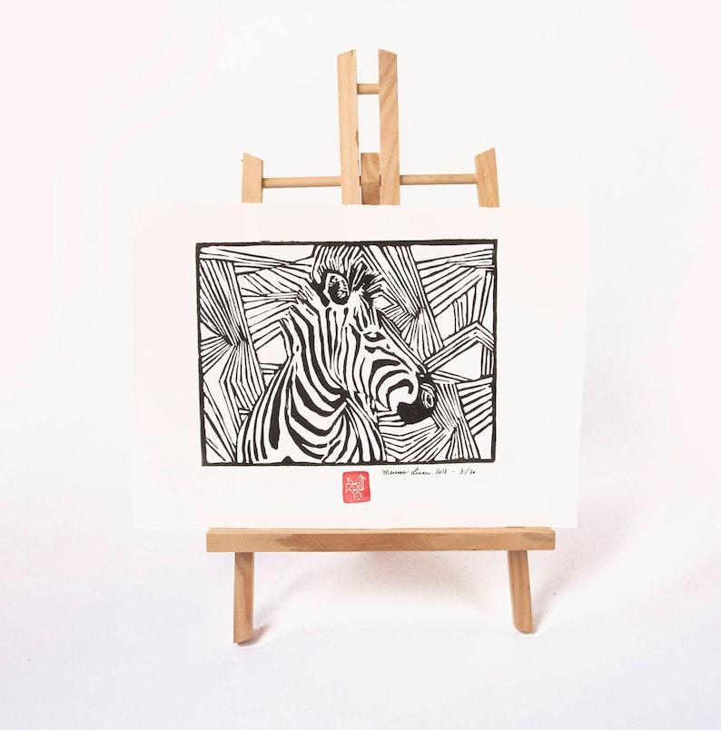 LINOCUT PRINT zebra artistic print image 0