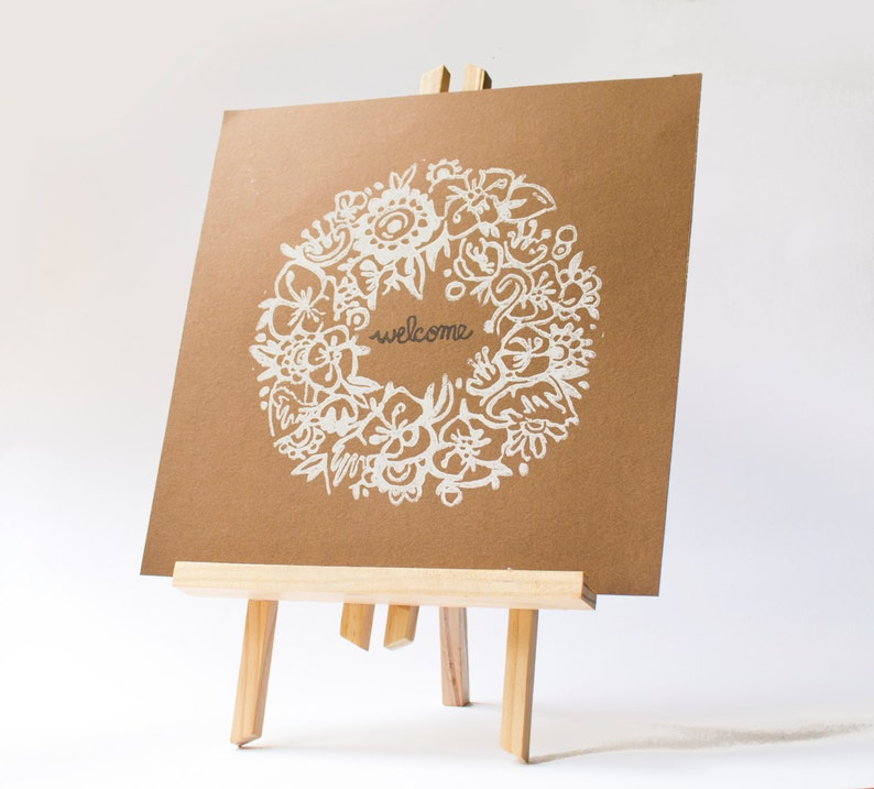 linogravure LINOCUT PRINT artistic print garland of Flowers and word