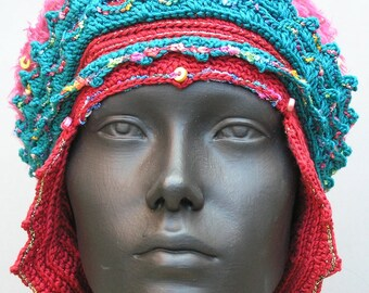 Blue Red & Fuzzy Pink Crochet Hat...