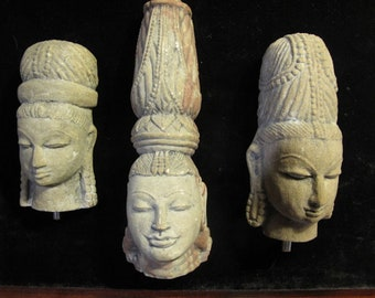 Vintage Sandstone Sculptures of Hindu Trilogy with Wooden Bases-Free Domestic Shipping