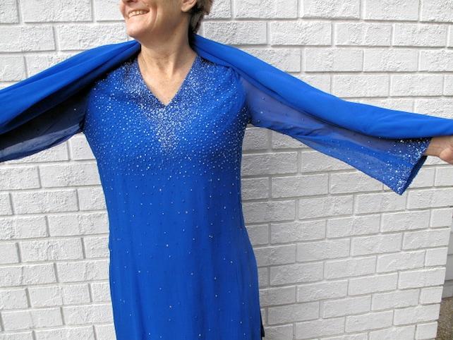 Silk Chiffon Pant Suit- Salwar Kameez  with Matching Dupatta(Shawl)-Size 10-12-Free Shipping