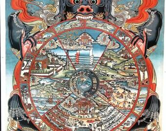 Wheel of Life Art Print of Tibetan Buddhist Thangka Painting, Vintage, 22 x 30 inches