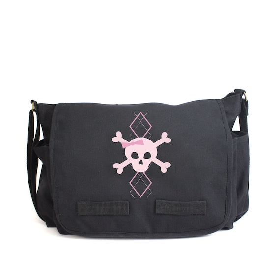 Jeep with Punisher Skulls Army Heavyweight Canvas Messenger Shoulder Bag in Stone Washed /& Black