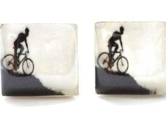Bicycle cufflinks, Bike cufflinks, Mountain Bike Cufflinks, bike gifts, Bike Cuff Links, cycling gifts, Silver cufflinks, dad cufflinks