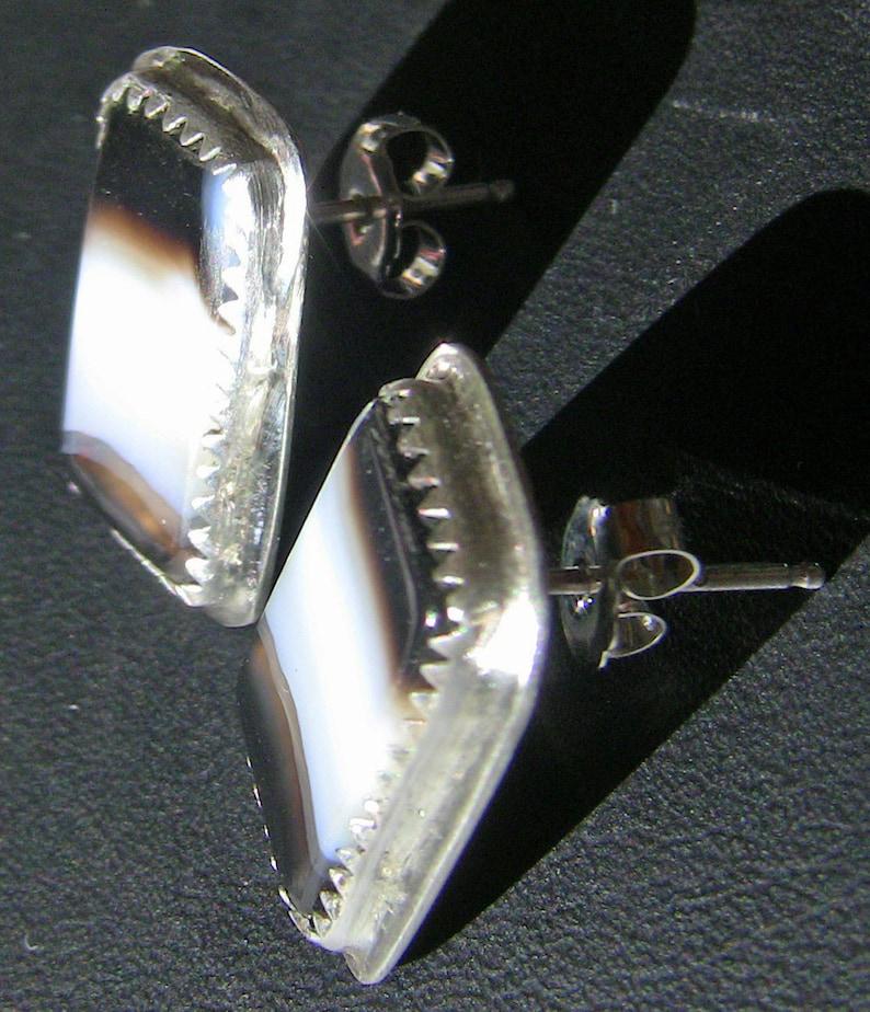 Black and White Sardonyx Agate Rectangular Posts