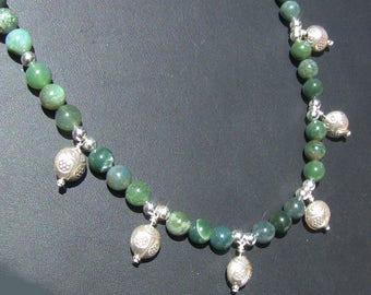 Bluegreen Agate SS Ladybug Charm Necklace