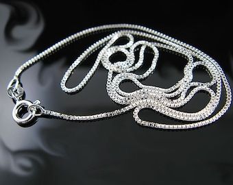 Box Chain 14 to 24 inches .925 Sterling Silver with Lobster Clasp (Italian Silver) 1.0mm Finish Chain with Clasp