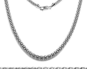 Popcorn Chain .925 Sterling Silver Rhodium with Lobster Clasp - (Italian Silver) 2.0 MM Finish Chain with Clasp