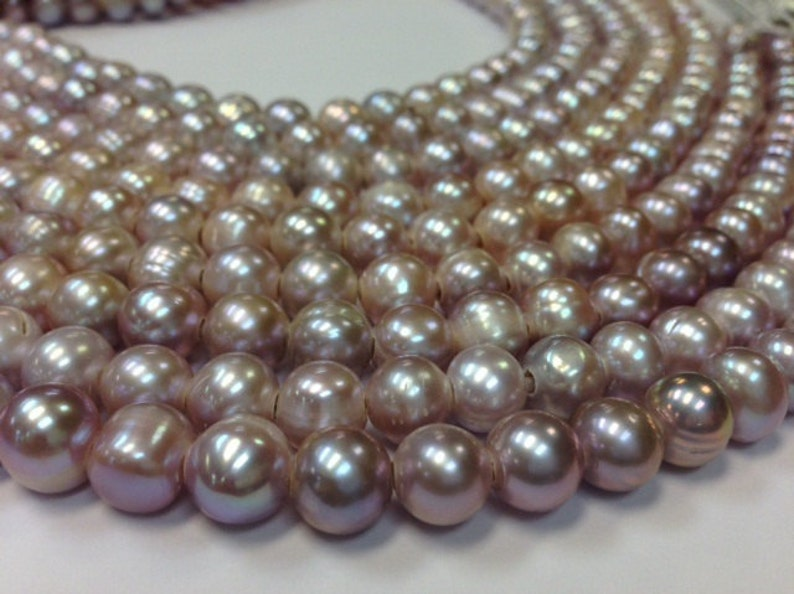 15.5 inch 10 to 11 mm Large Hole Freshwater Pearl Potato Beads G3946W82-BHB Blush  Mauve Pearl 3 mm hole