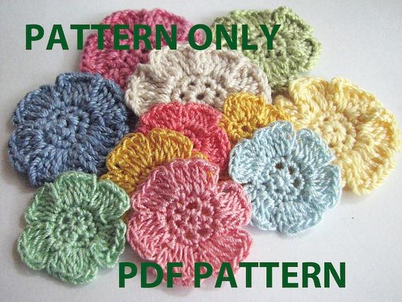 crochet flower pattern simple flat six petal flower etsy