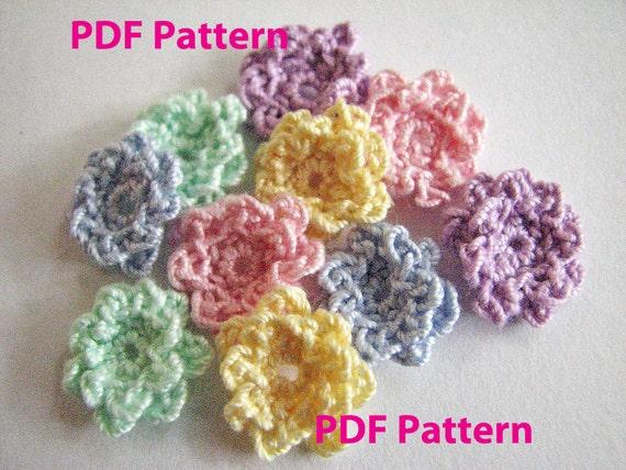 Crochet Flower Pattern Tiny Ruffle Flower Instant Download Etsy