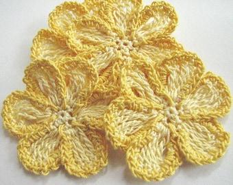 Crochet Flower Appliques - 4 Handmade Yellow Two-Tone Thread Flowers