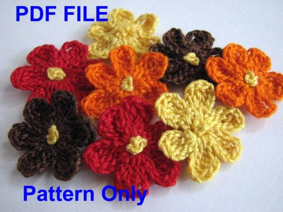 crochet flower pattern small six petal flower instant etsy