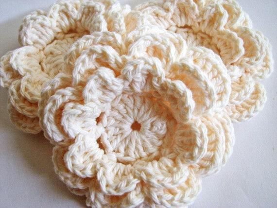 Crochet Flowers 3 Large Layered Cream Crochet Flowers All Etsy