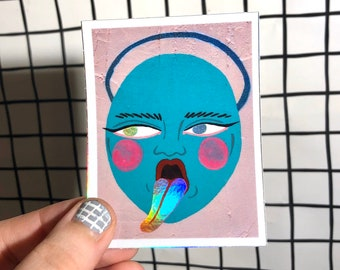 Angel Face Holographic Sticker