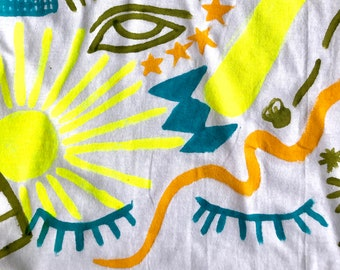 Hand Painted White XL T-Shirt by Sam Pletcher ~ Neon Yellow, Olive Green, Turquoise and Golden Yellow
