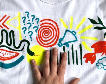 Hand Painted White Small T-Shirt by Sam Pletcher ~ Orange, Neon Yellow, Spruce Green and Turquoise