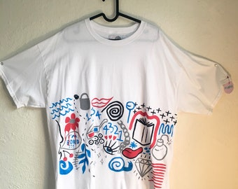Painted White T-Shirt by Sam Pletcher 〰 Hand Painted One of a Kind Adult XL Shirt 〰 Black, Blue, Gray and Red