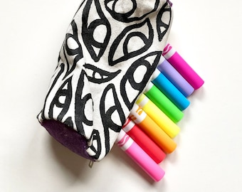 Black and White Handmade Pencil Pouch with Purple ~ Painted and Sewn by Hand