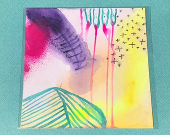 """Wound ~ Colorful Watercolor Painting on Artist Grade 8"""" x 8"""" Paper by Sam Pletcher"""